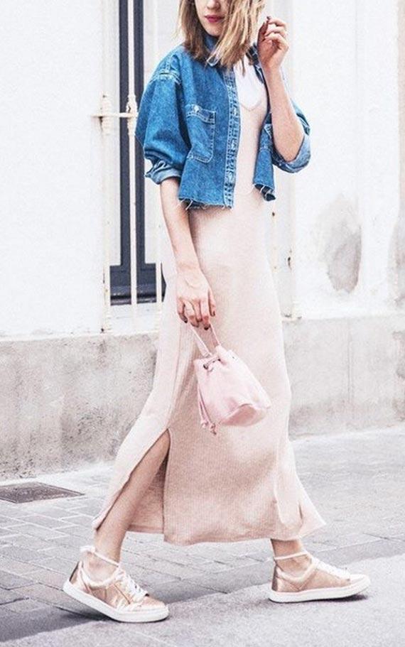 комплект с трикотажным платьем