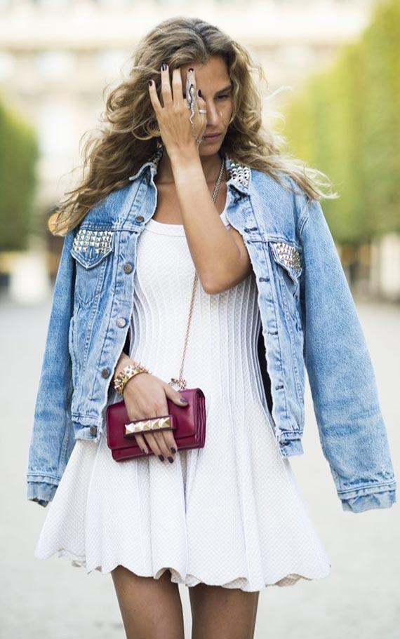 джинсовка с белым коротким платьем