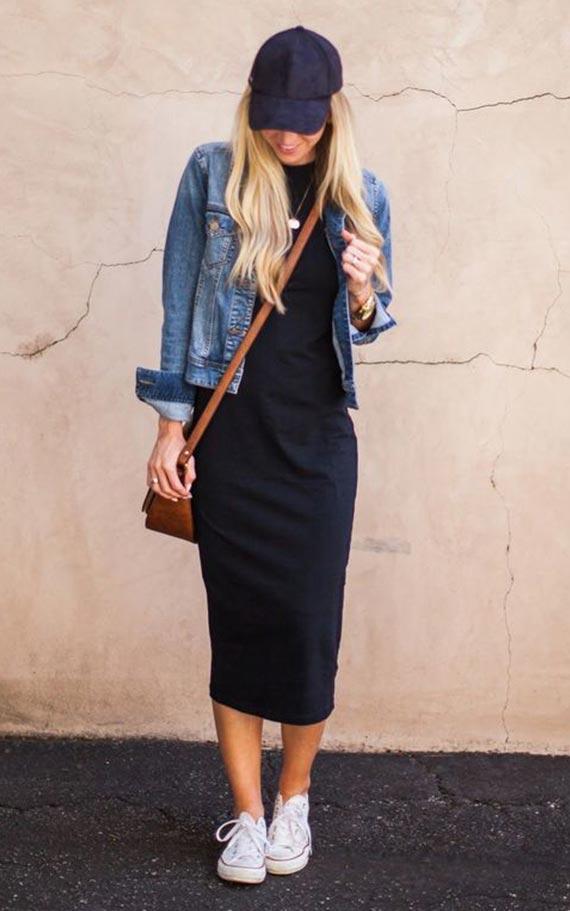лук с трикотажным черным платьем