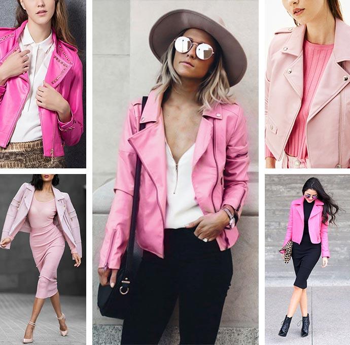 С чем носить розовую кожаную куртку