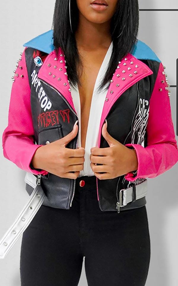 с чем носить розовую кожаную куртку декором
