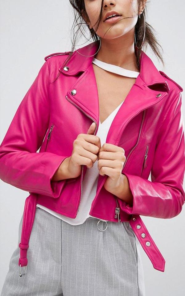малиновая куртка из кожи