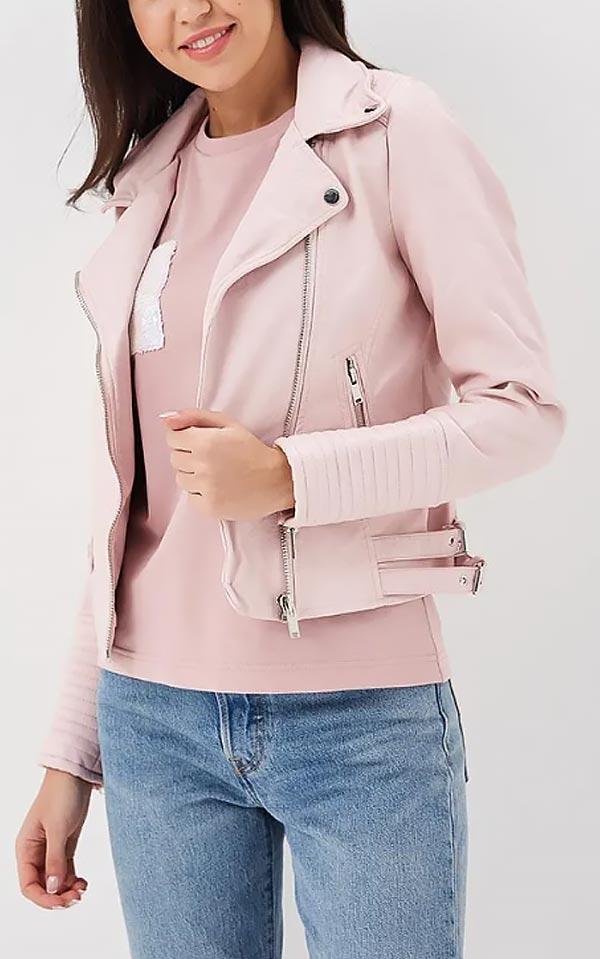 светло-розовая куртка из кожи