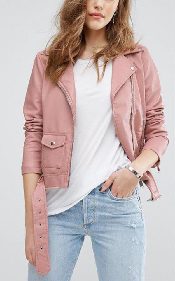 с чем носить розовую кожаную куртку пыльного оттенка