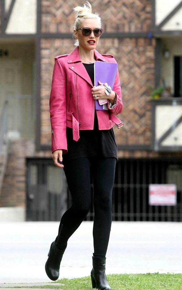 образ для работы с розовой кожаной курткой
