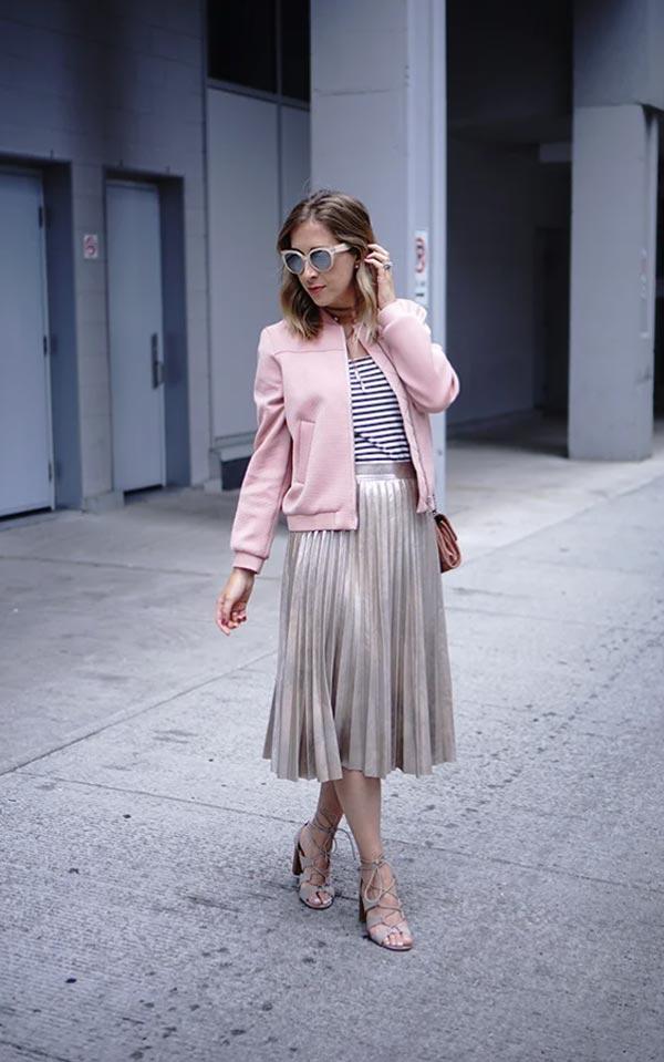 кожаная куртка светло-розовая с юбкой плиссе