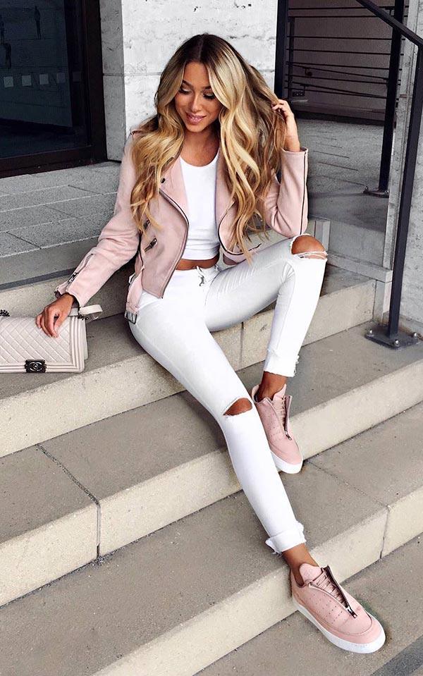 лук с белыми джинсами