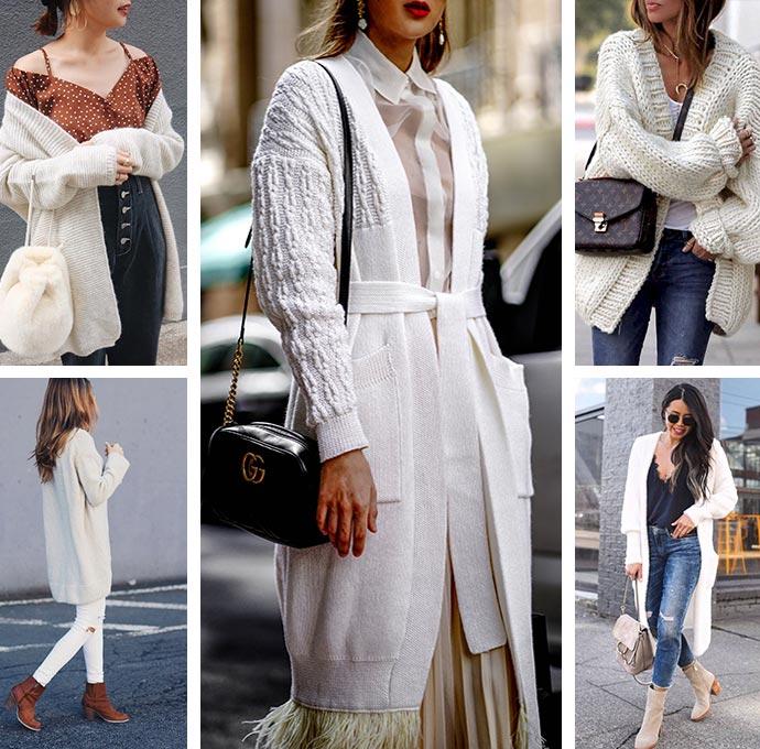 белый кардиган с чем носить