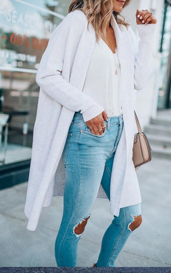 белый кардиган с джинсами
