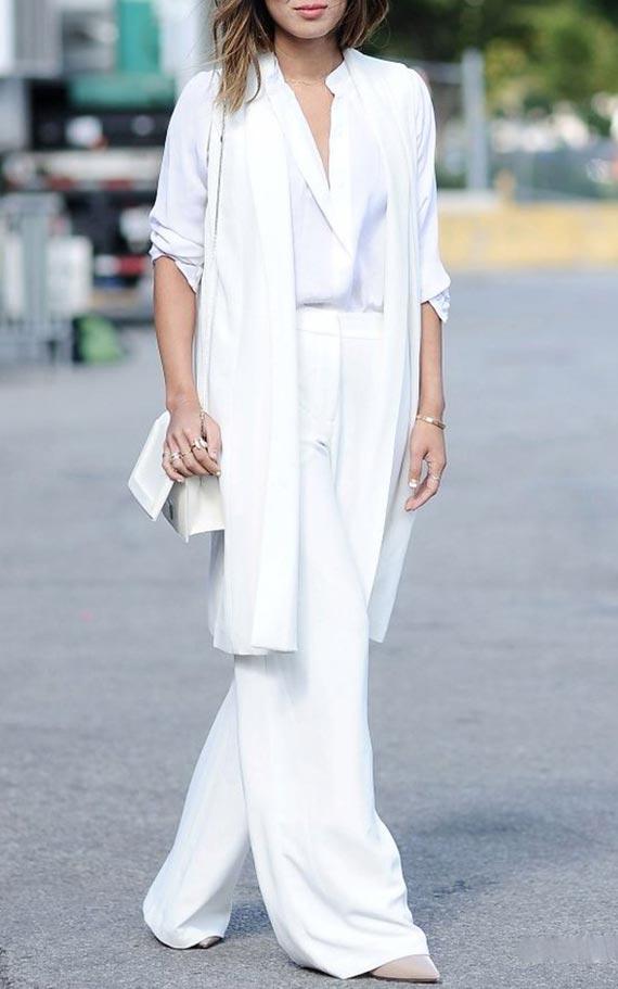 с чем носить белый кардиган - тотал лук