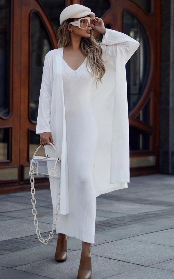с чем носить белый кардиган