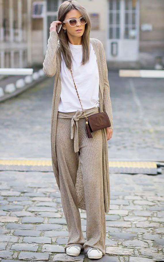 повседневный лук с трикотажными брюками, кардиганом