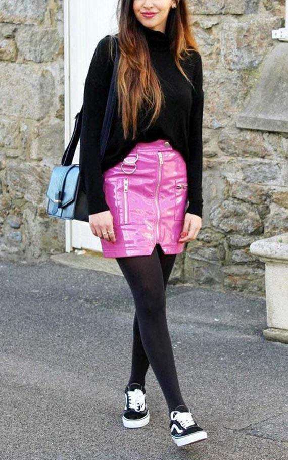 образ с розовой юбкой и кедами