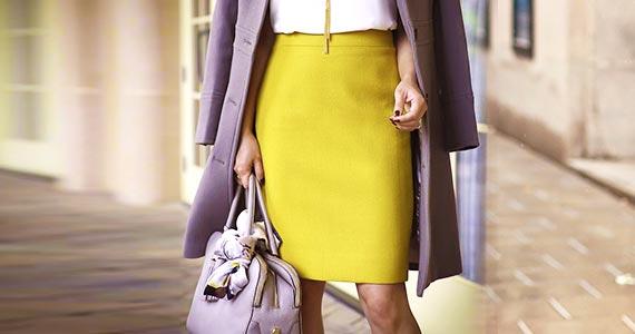 Желтая юбка-карандаш с чем носить и сочетать