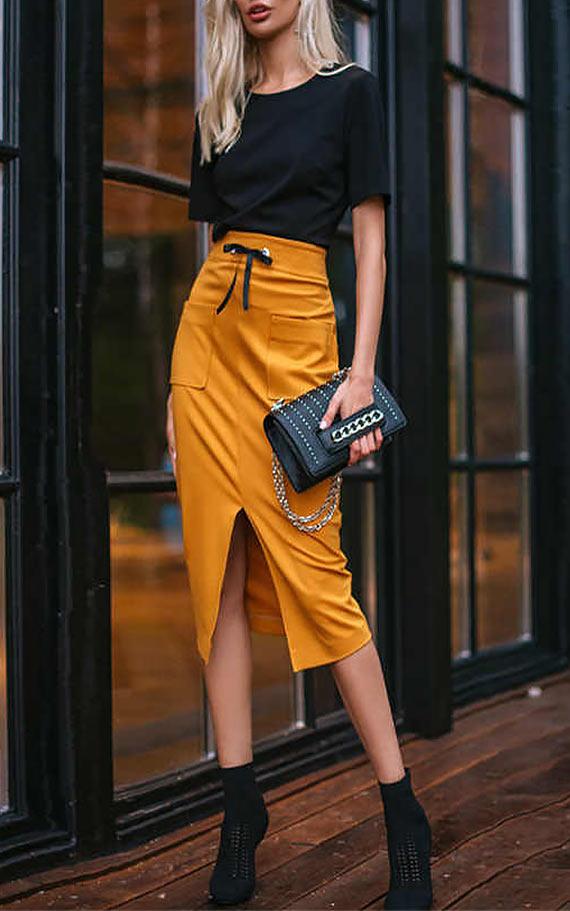 юбка - карандаш из плотного трикотажа и ботильоны