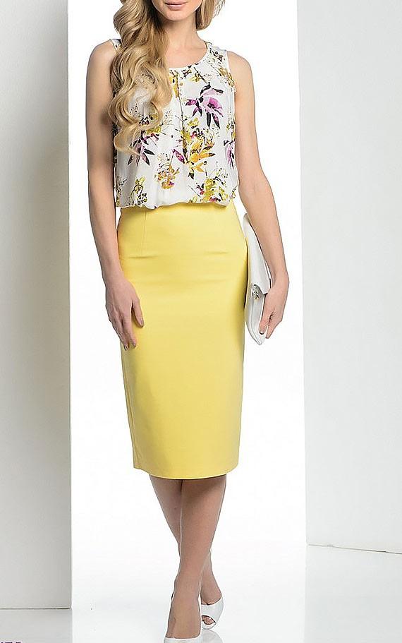 Желтая юбка-карандаш