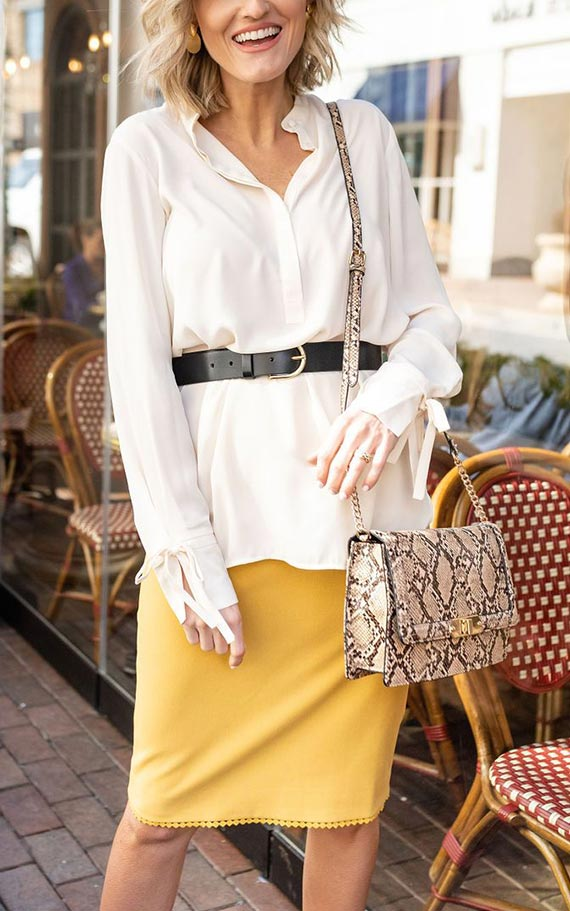 лук с длинной белой блузкой