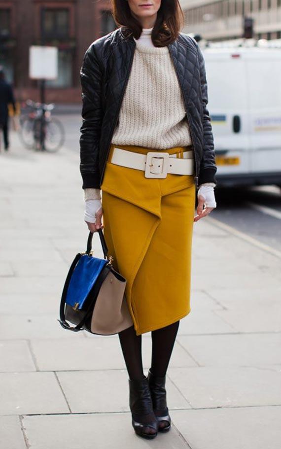 желтая юбка карандаш в осеннем луке