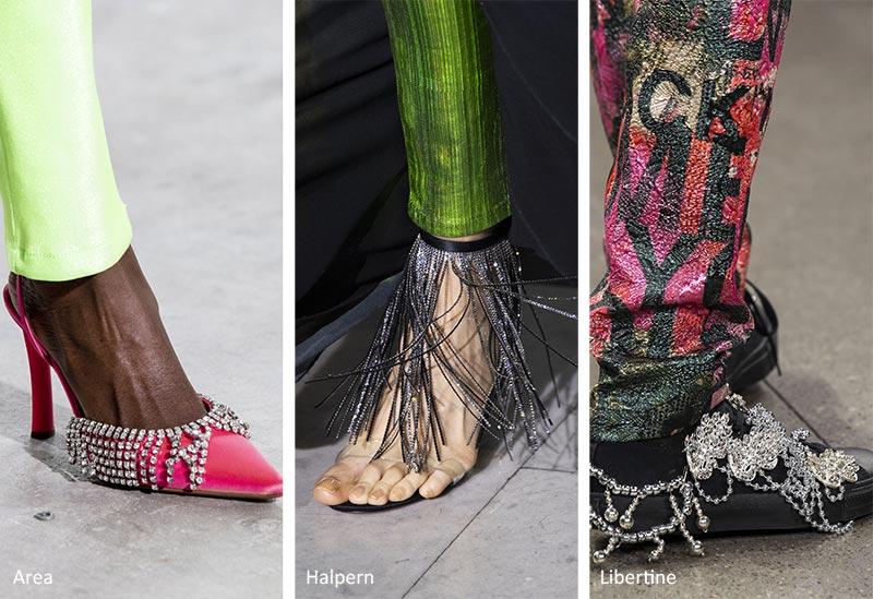 обувь с блестящей бахромой