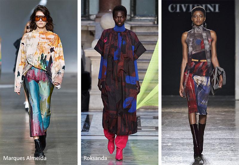 Модные принты Осень -Зима 2020-2021: брызги краски и полосы
