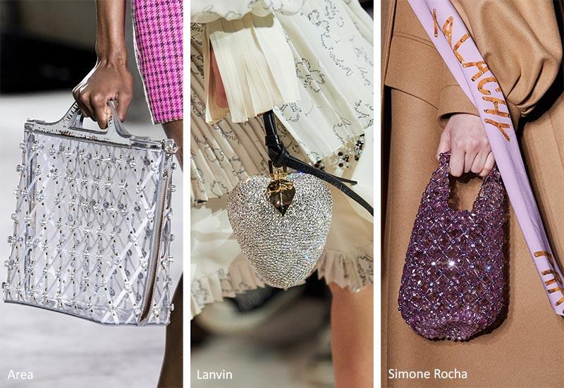 Сумочка Осень / Зима 2020-2021 Тенденции: блестящие украшенные драгоценными камнями и бисерные сумки