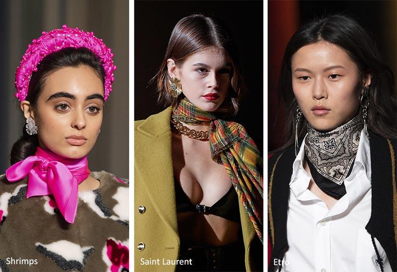 Модные украшения осень-зима 2020-2021: Шарфы с узким вырезом