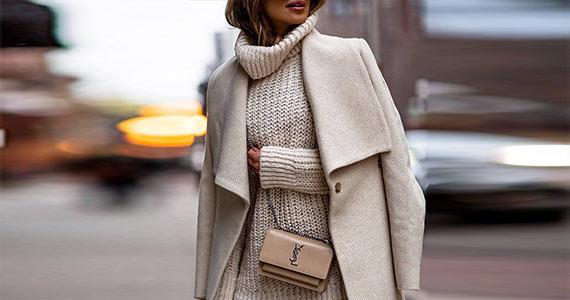 С чем носить трикатажное вязаное платье-свитер - образы, фото