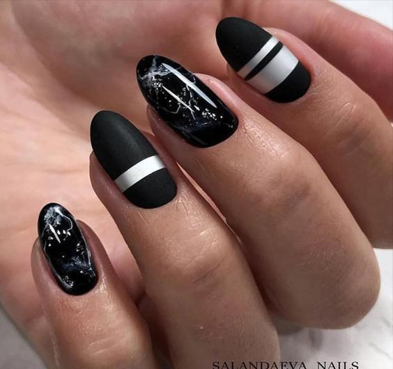 черный маникюр на на средние ногти