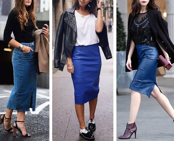 синяя юбка-карандаш - образы для девушек и женщин