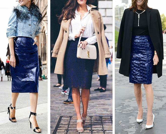 сочетание синей юбки с верхней одеждой