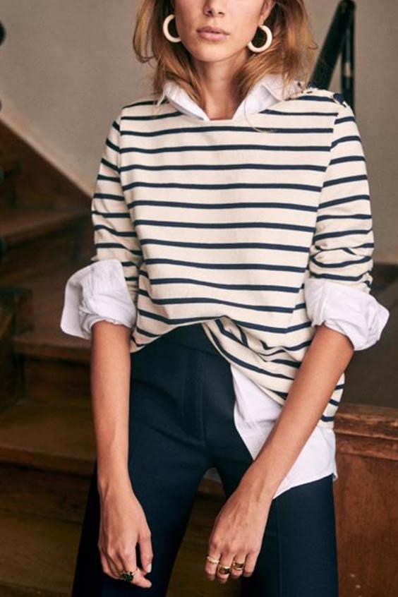 полосатый джемпер в сочетании с рубашкой и джинсами